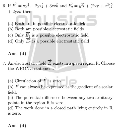 Electricity and Magnetism Practice questions IIT JAM - Physicsguide